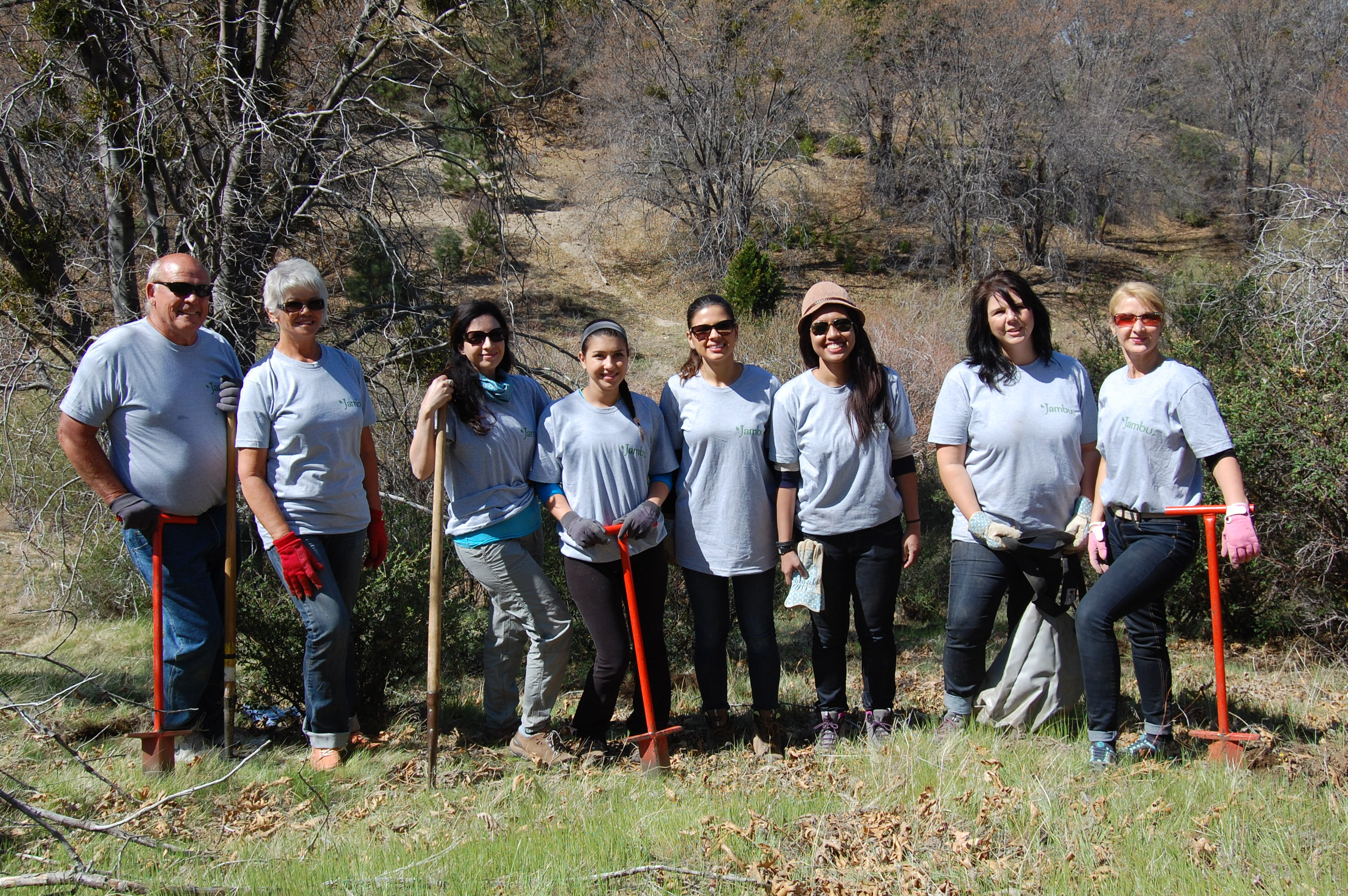 Pamela Jonah's planting team in the San Bernadino Mountains.