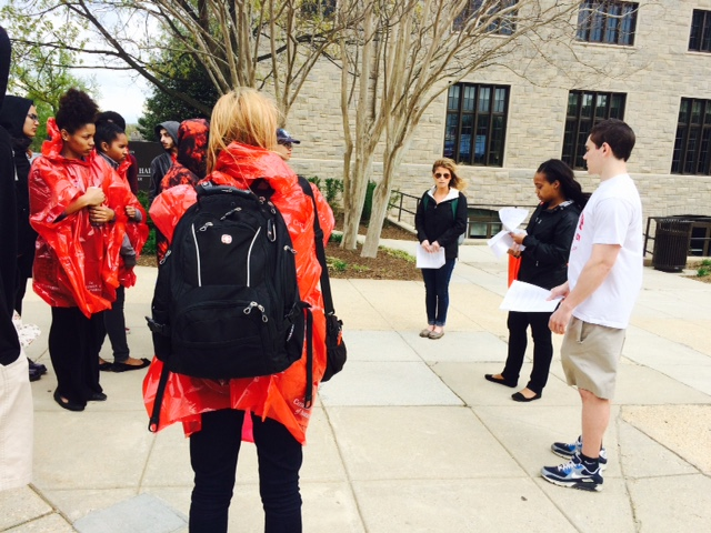 A campus sustainability tour at the Catholic University of America in Washington, D.C.
