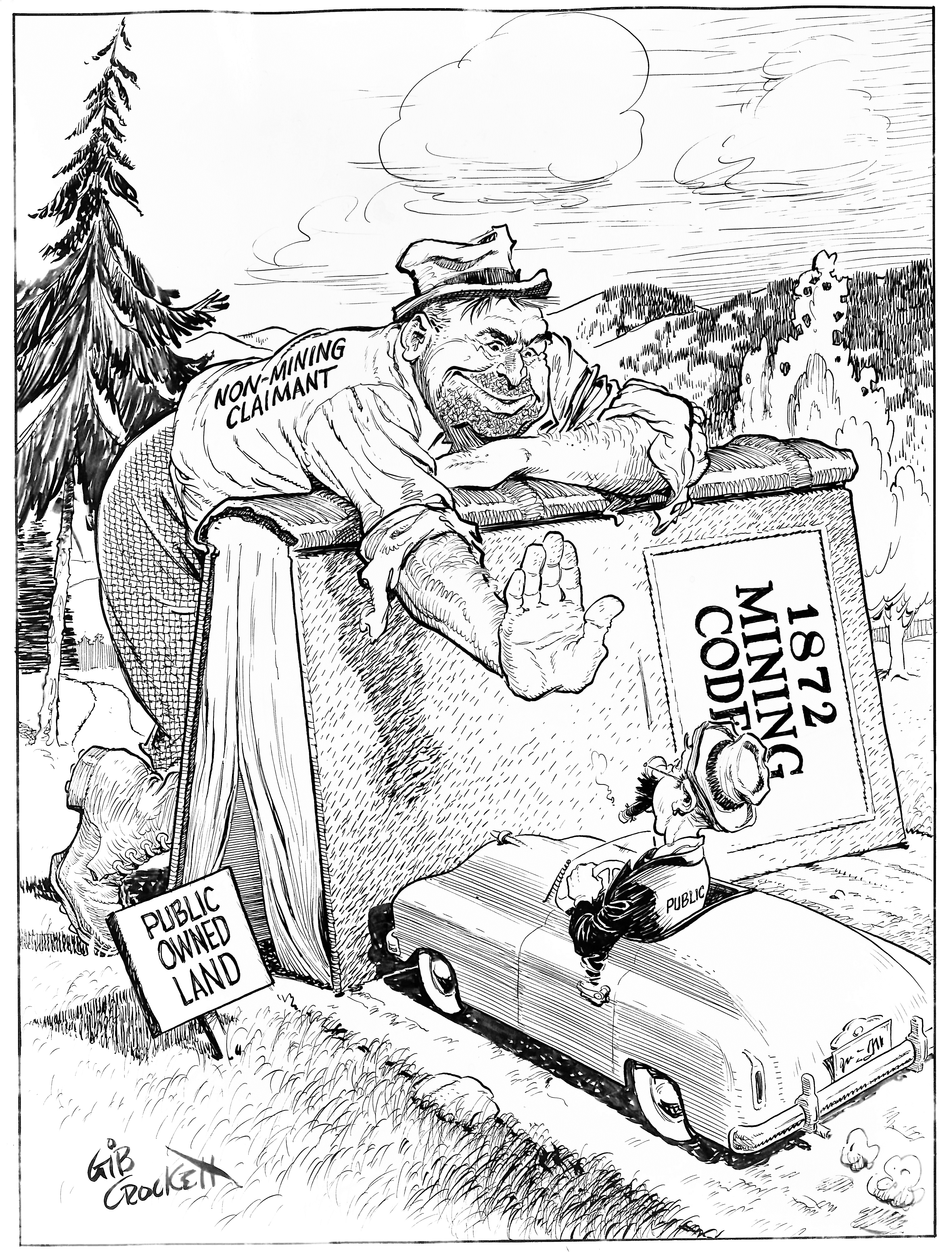 Gib Crockett Cartoon showing the 1872 mining code being used to block the public from using public land