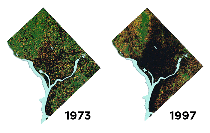 Aerial images of DC from 1973 and 1997