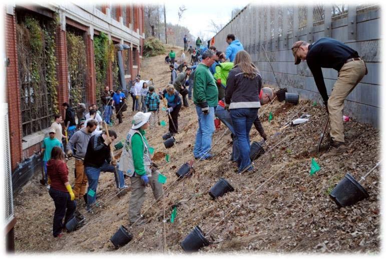 """Volunteers at the 2011 """"Atlanta BeltLine Arboretum"""" project."""