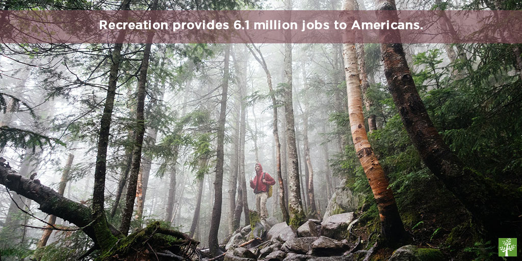 Recreation provides 6.1 million jobs to Americans.