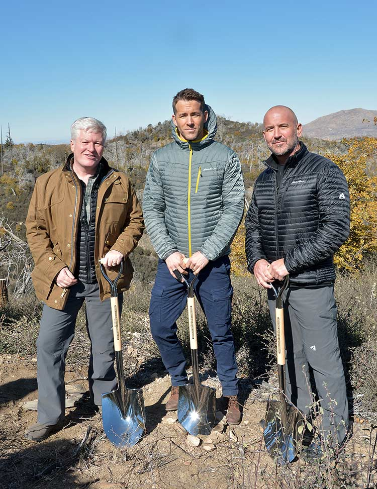 Eddie Bauer and Philanthropic Ambassador Ryan Reynolds Plant 50 Millionth Tree in Celebration of 20-Year Partnership with American Forests on November 11, 2015 in Lake Arrowhead, California.