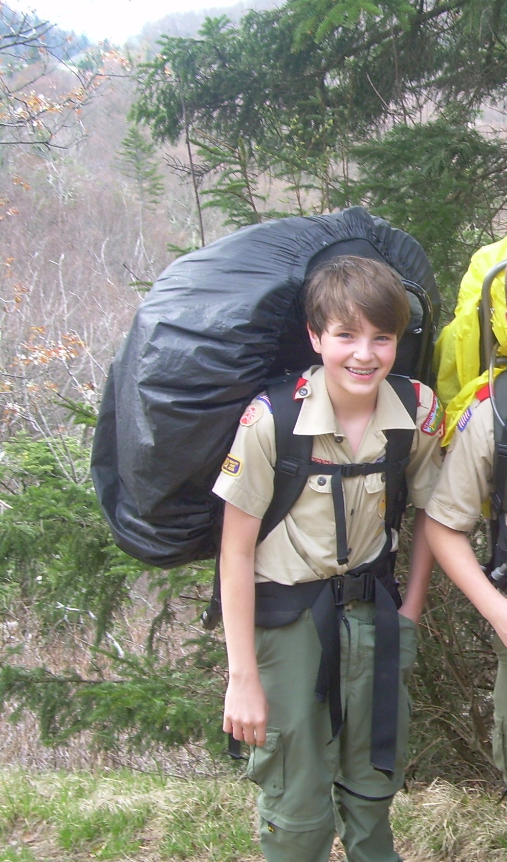 Andy in 7th grade backpacking with the BSA.