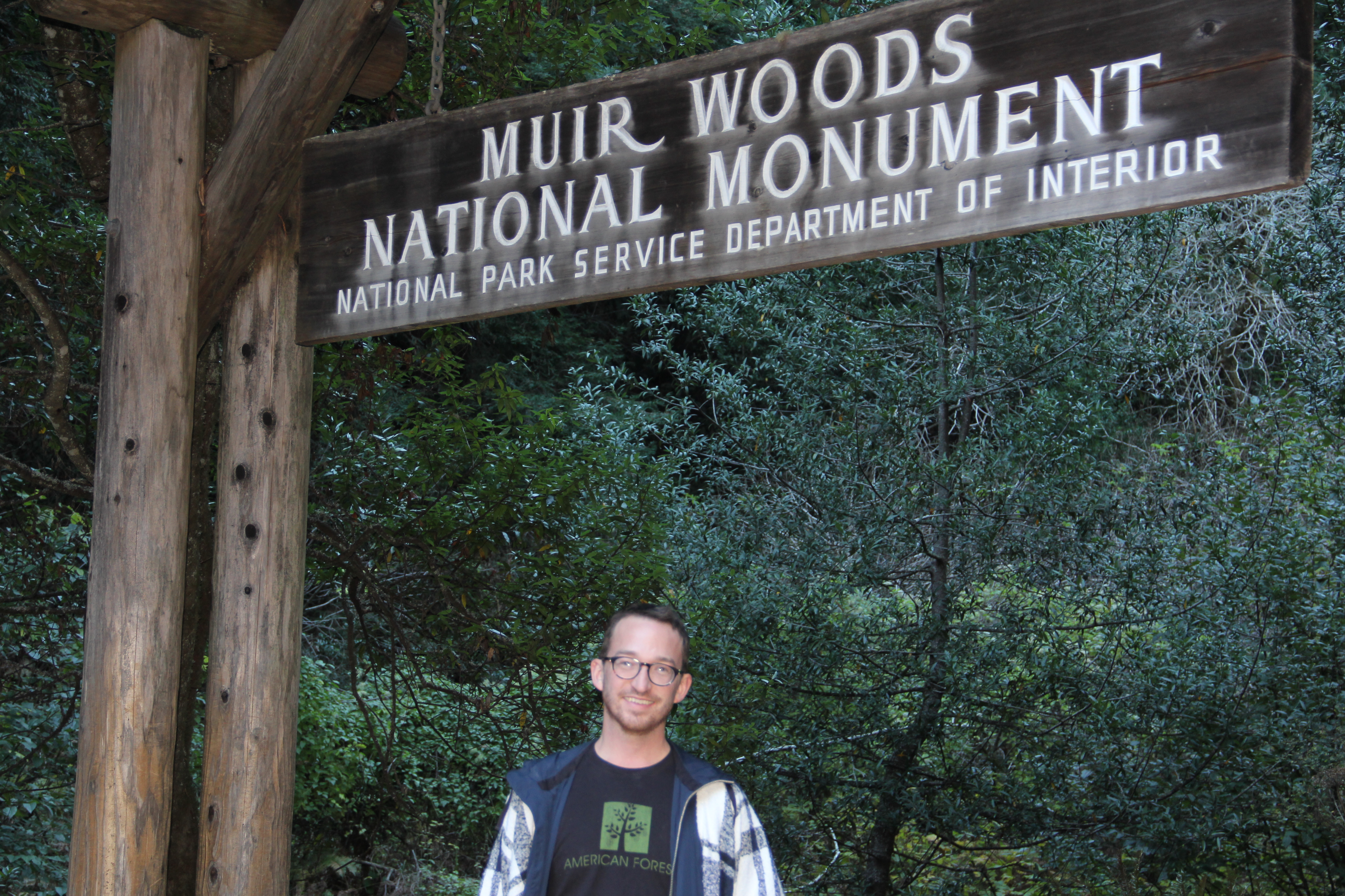 Christopher Horn at entrance to Muir Woods National Monument.