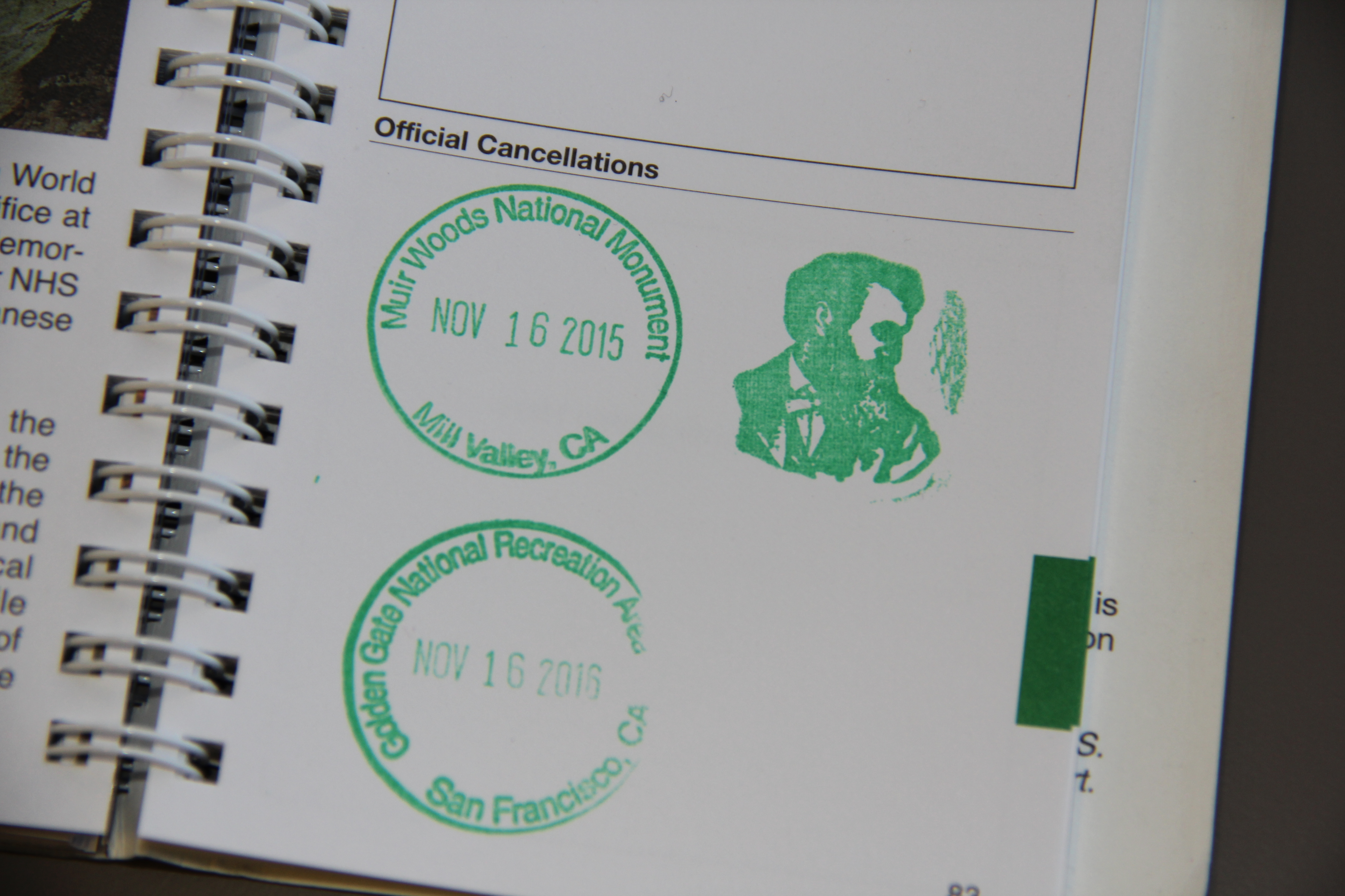 Christopher Horn's National Parks Passport stamps from Muir Woods National Monument.