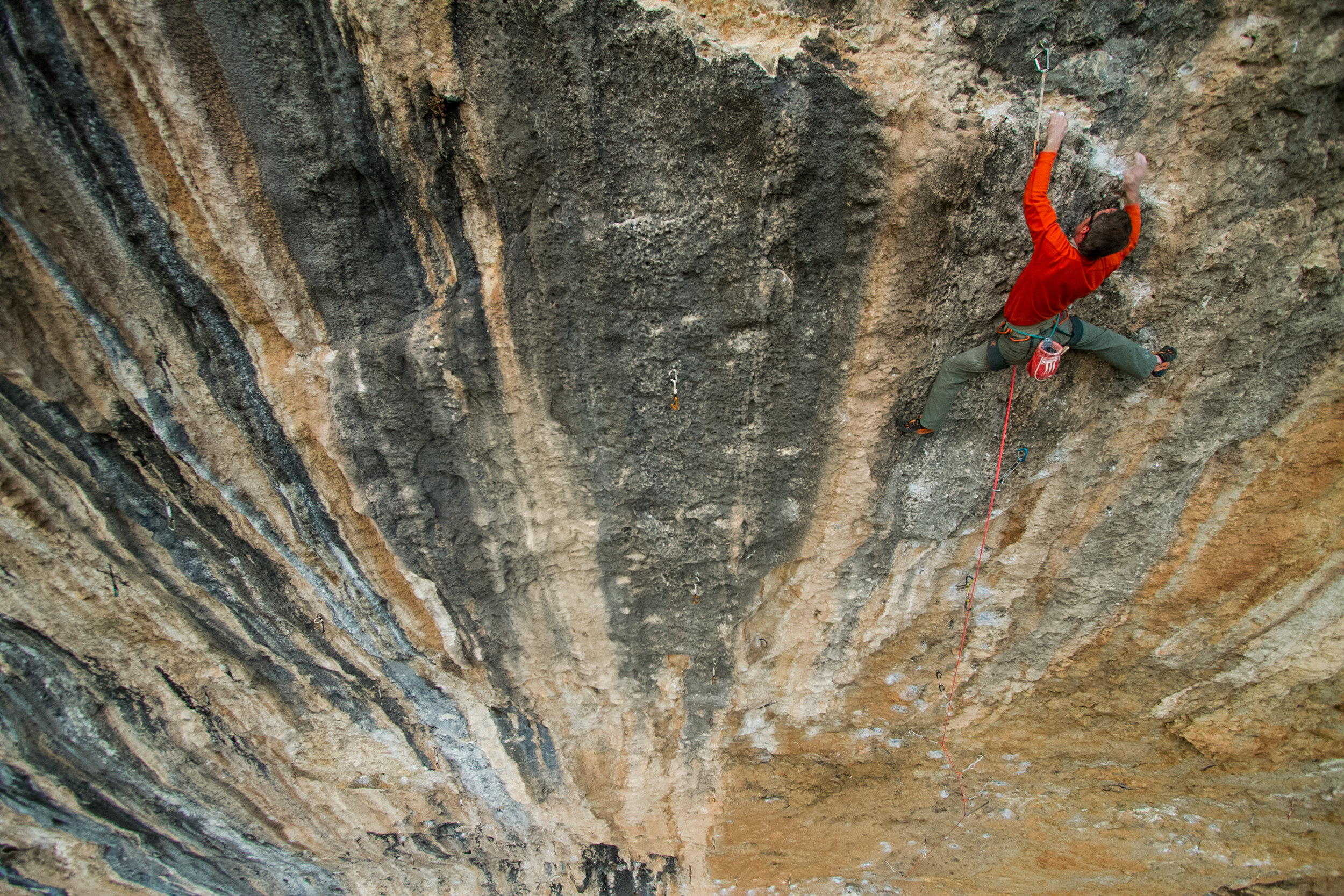 Ben Ditto climbing, Fish Eye, in Spain