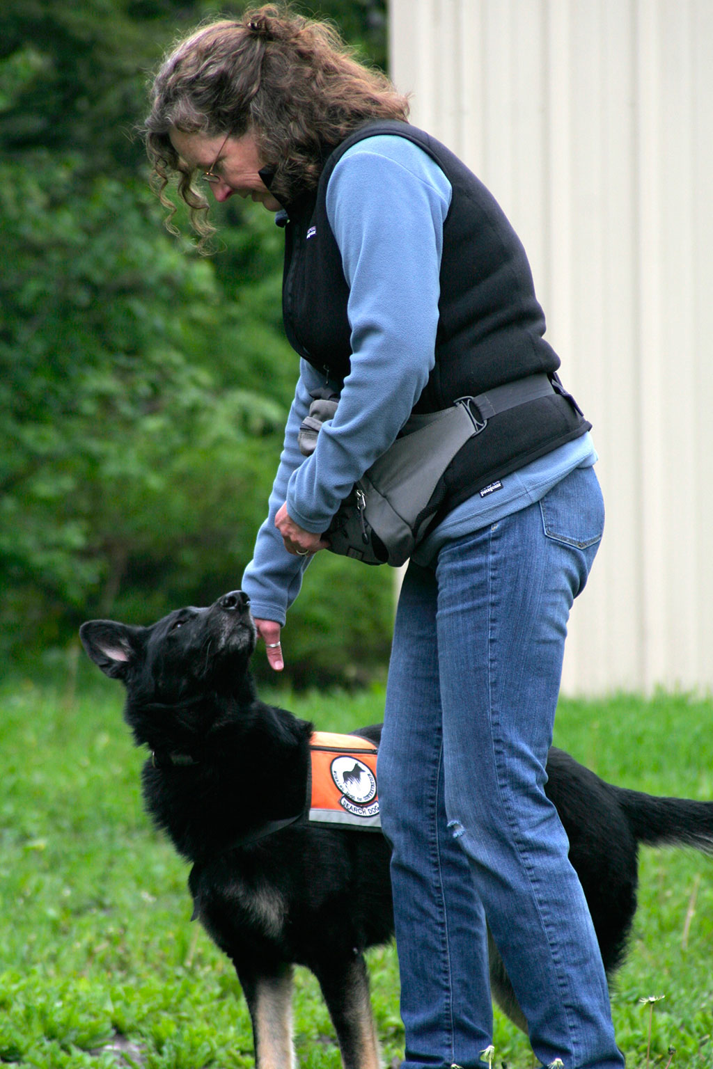 Alice Whitelaw, co-founder of Working Dogs for Conservation, training Tia