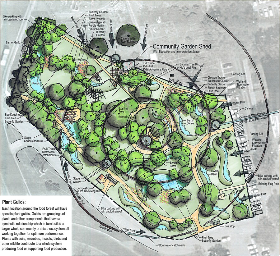 Site plan for an urban food forest project in Austin