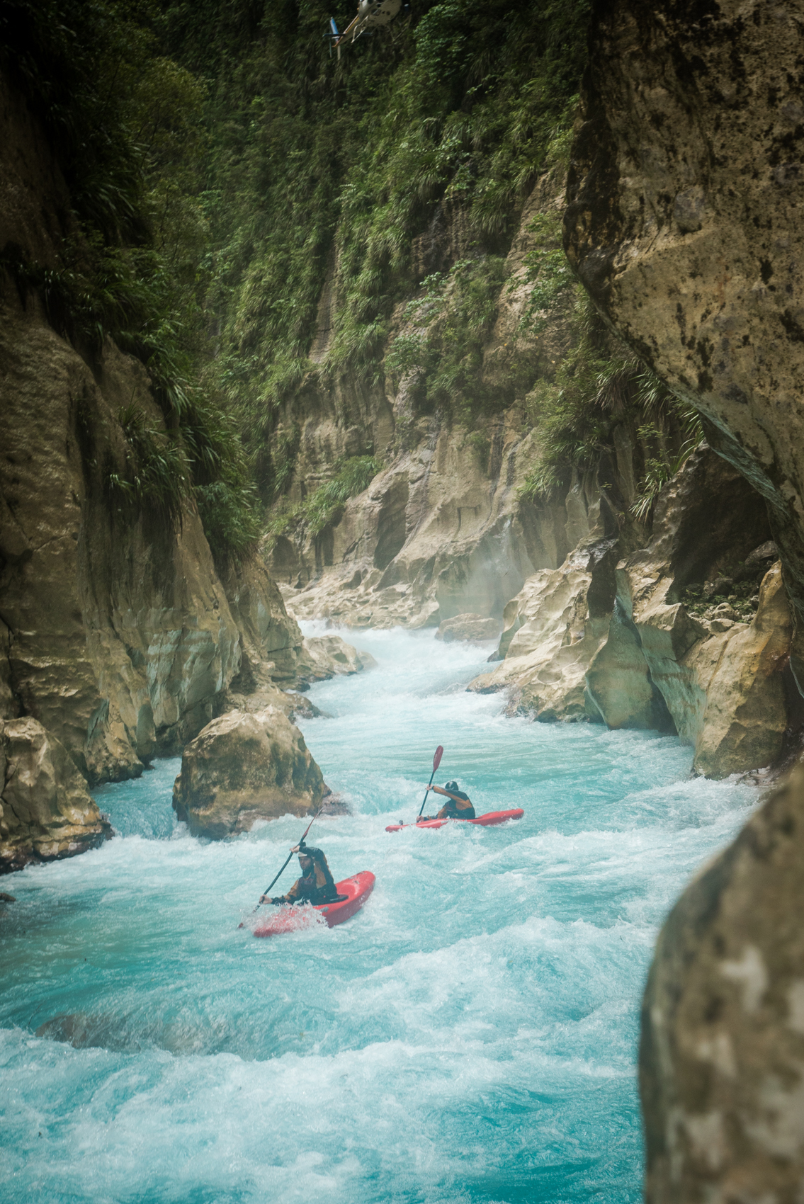 Paddling through a wild canyon in Papua New Guinea.