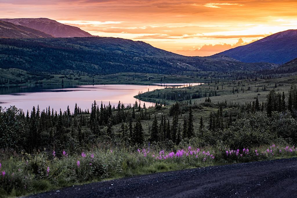 Sunset over Reflection Pond in Alaska.