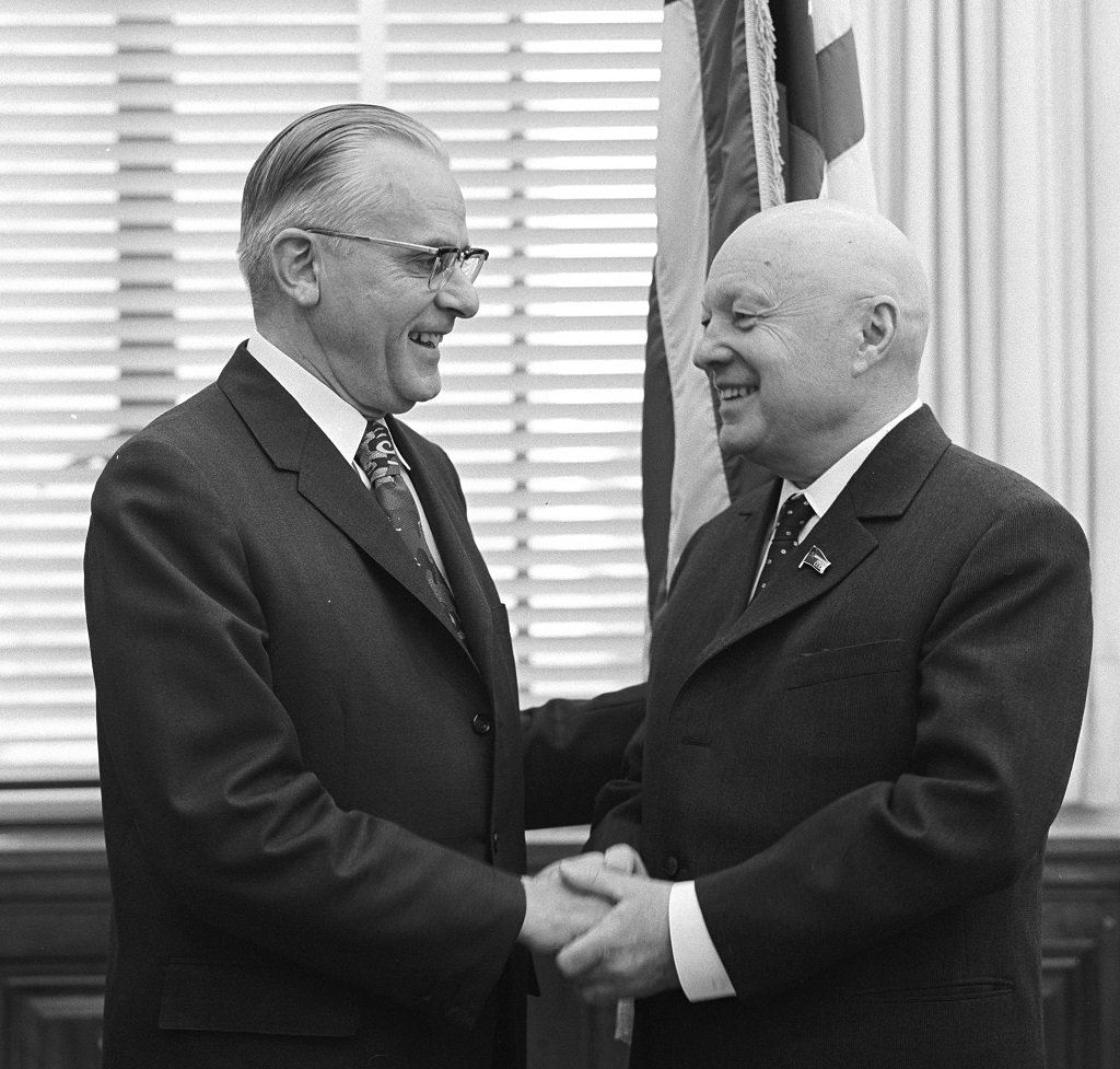 Earl-Butz-Meeting-with-USSR-Minister-of-Agriculture-Vlatimer-V-Matskevich-1971
