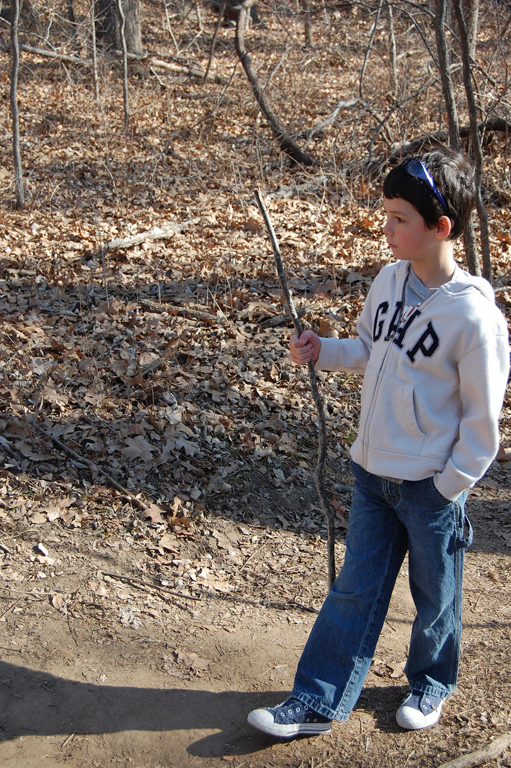 The author's son, Jackson, on a hike in the Oklahoma Cross Timbers.