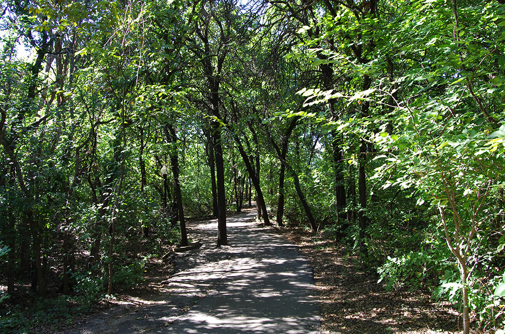 The paved walking trail through the Cross Timbers forest at E.C. Hafer Park in Edmond, Okla.