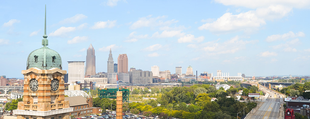 The Cleveland, Ohio skyline.