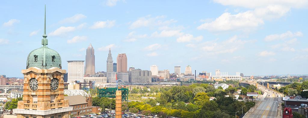 The Cleveland, Ohio skyline.