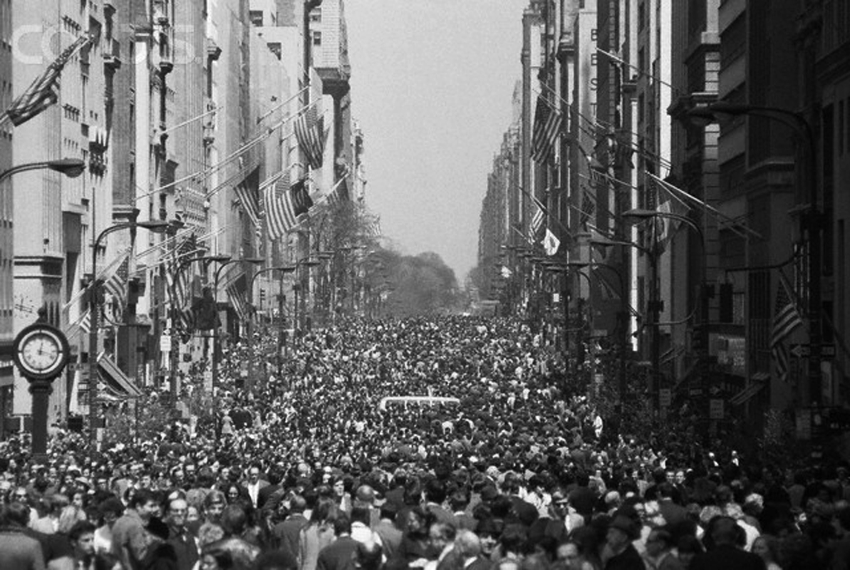 Earth Day Crowds in New York City in 1970