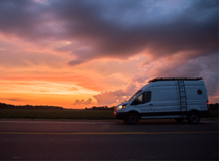 Van in sunset