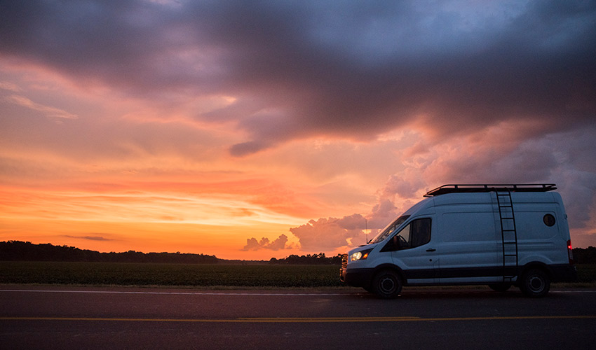 Van in sunset