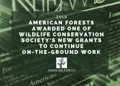 American Forests Awarded One of Wildlife Conservation Society's New Grants to Continue On-The-Ground Work sm