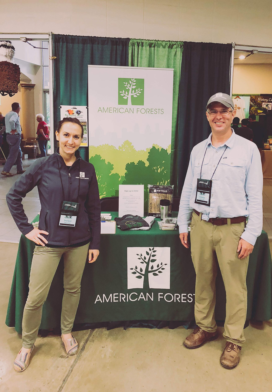 Emily Russell, director of major gifts, and Eric Sprague, director of American ReLeaf, were at the Rio Grande Valley Birding Festival in November, meeting with avian enthusiasts to discuss the crucial role of healthy forests among threatened bird species and promoting American Forests' decades of work in this region.