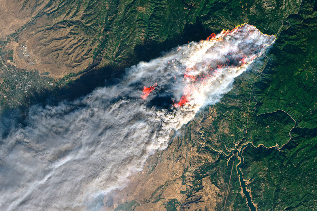Satellite imagery of the Camp Fire. Smoke would eventually reach as far as New York.