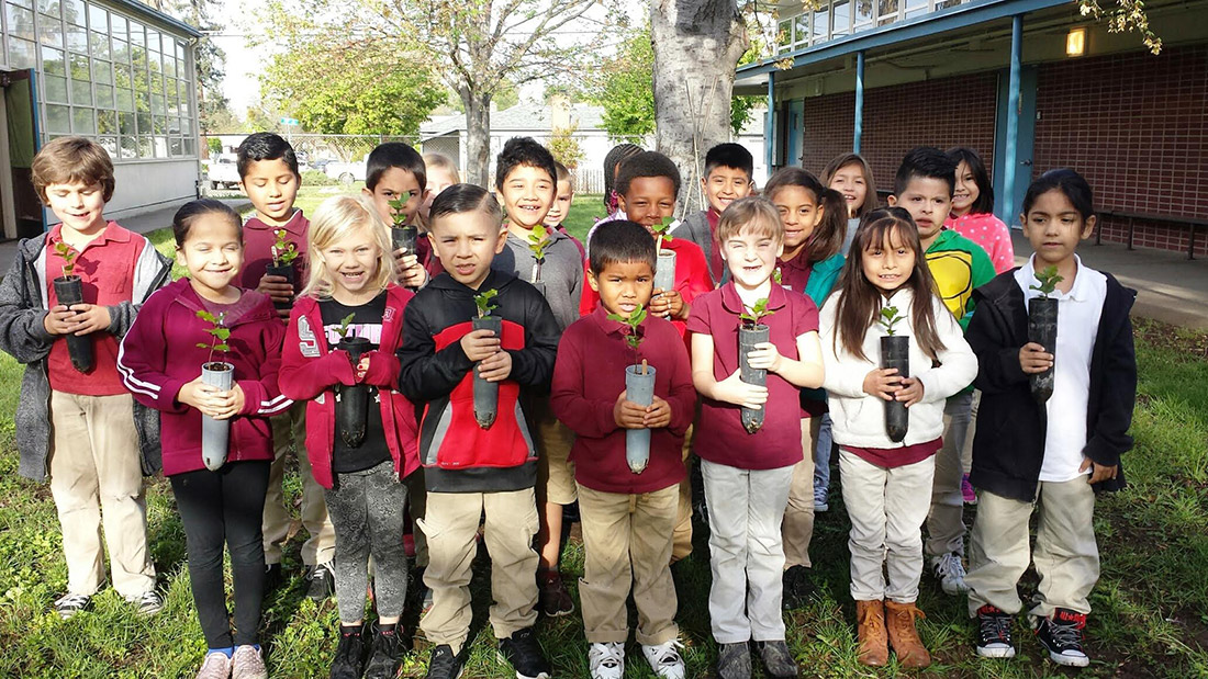 Volunteers work with 3rd and 4th grade classes in Sacramento, Calif. to collect native acorns, grow them into seedlings, and then reforest areas affected by wildfire — all while learning about healthy forests.