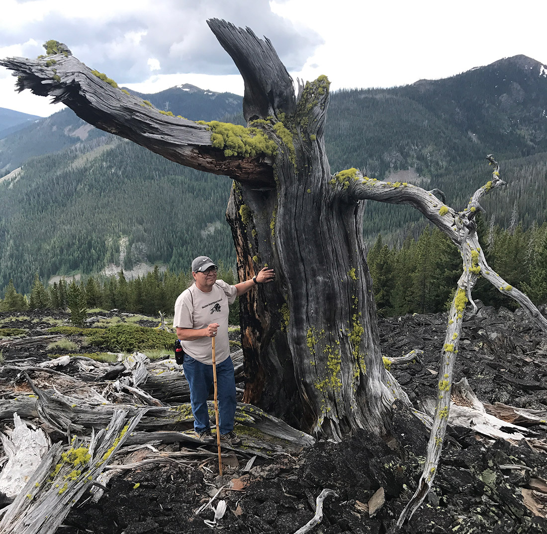 Durglo stands next to the Great Great Great Grandparent whitebark pine.