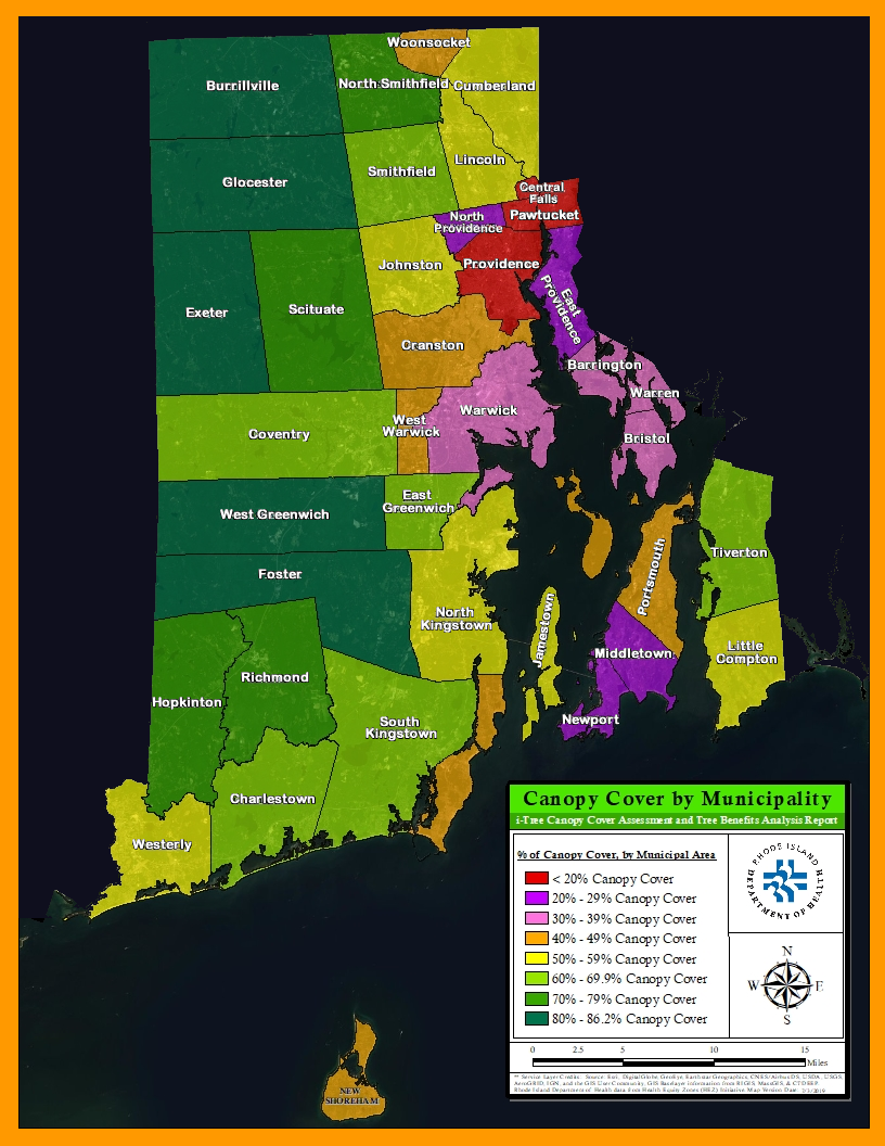Rhode Island Canopy Cover by Municipality