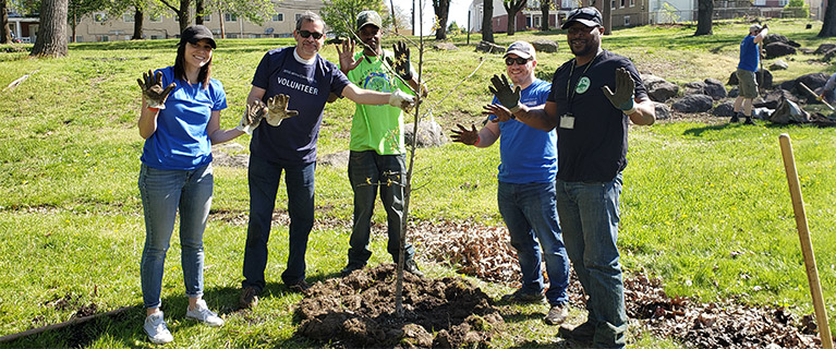 Through the generous funding of JPMorgan Chase, 50 trees were planted in Speakman Park in downtown Wilmington, Del.