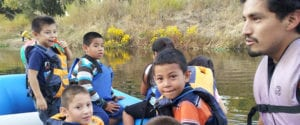 José González gets ready to lead a group of children as they raft the Tuolumne River.