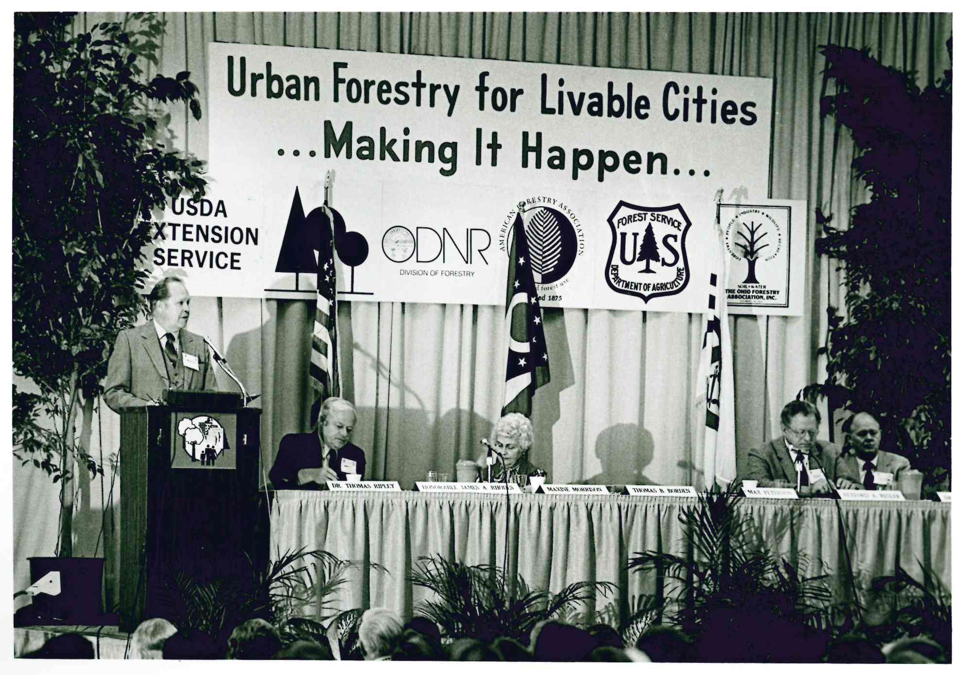 : In 1978, American Forests helped establish the urban forestry concept, rapidly becoming a catalyst for urban forestry. We were instrumental in establishing the National Urban and Community Forestry Leaders Council in 1981, later to be called the National Urban Forest Council. This is a photo of the proceedings of the second national urban forestry conference in 1982.