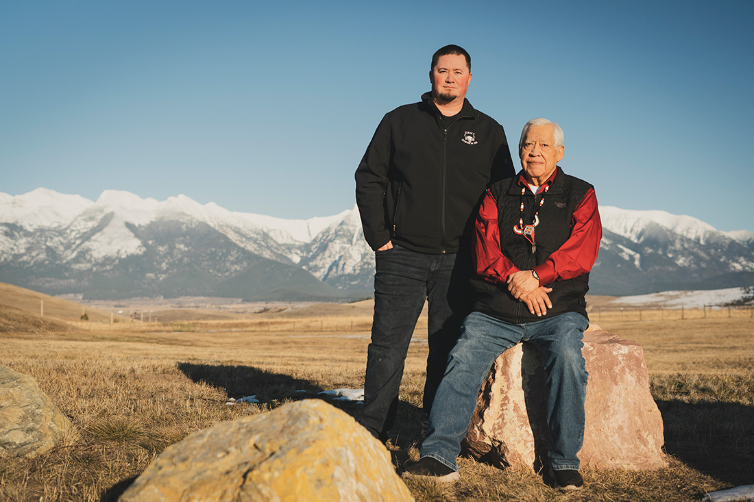 Tony Incashola Sr. and his son, Tony Incashola Jr., enjoy the views of the landscape, including the high-elevation forests in the distance, at the Flathead Indian Reservation. The father-son team help lead work within the Confederated Salish and Kootenai Tribes to restore the reservation's forests.
