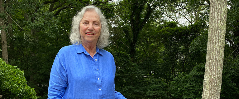 Sheryl Gold in her East Hampton, N.Y., backyard. Gold has been an advocate for urban forests for 30 years.