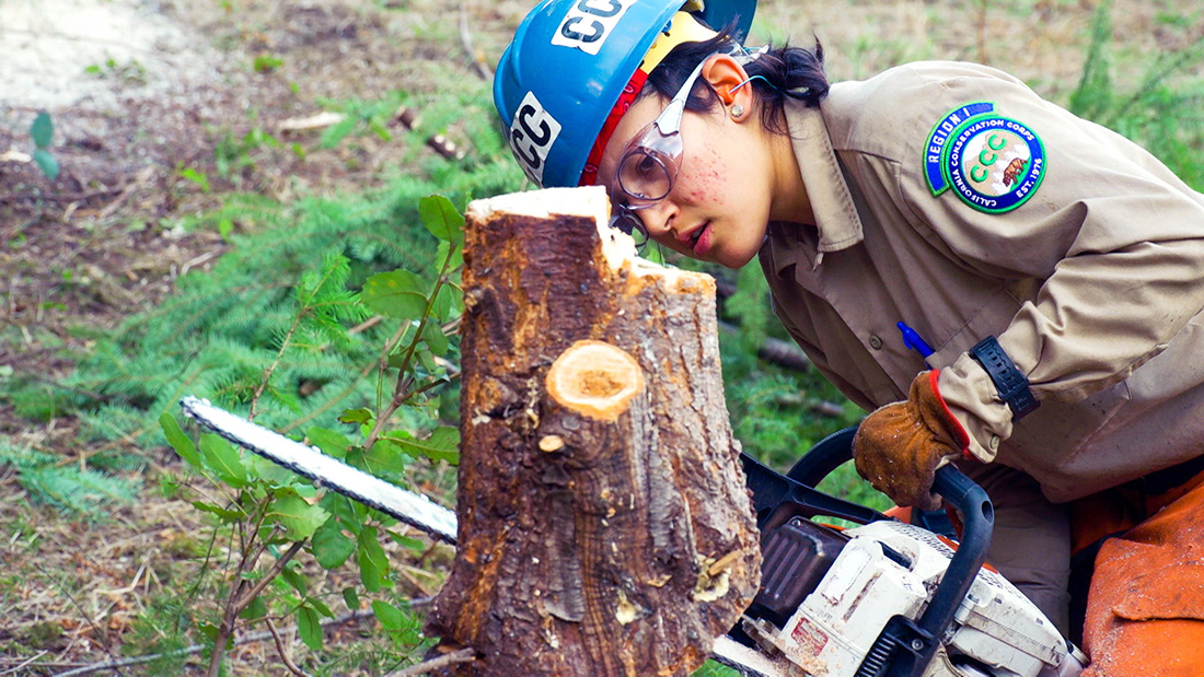 After two years in the California Conservation Corps, Luna Morales, now a crew leader, can fell trees with a chainsaw and has helped reroute creeks.