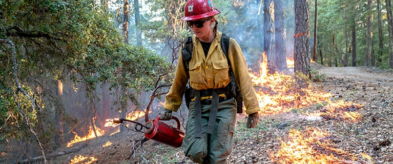 "Laura Spellman, a ""hot shot"" firefighter, uses a drip torch to burn vegetation as part of efforts to contain a 2018 wildfire in Mendocino National Forest, Calif."